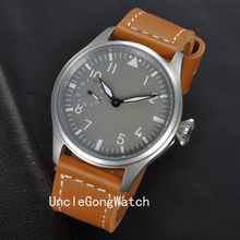 47MM Gray Dial Special @9 Sub-dial Hand Winding 6497 Men's Watch WM4702SB Analog Leather Watch Band