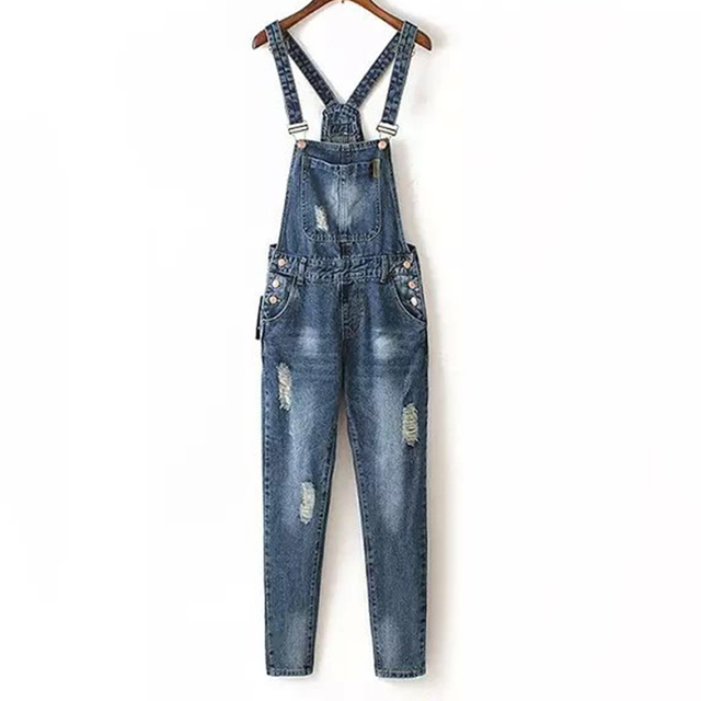 8e412bae4b41 Fashion Ripped Denim Dungaree Jumpsuit with White Adjustable Straps for  Women Straight Pants Ankle Length Dark Blue CLJS008