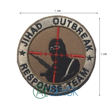 1pc cheap price Jihad outbreak response team embroidery 7.4cm iron on military patch