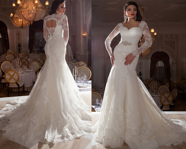 Mermaid Wedding Gowns With Sleeves: Elegant Women White Long Sleeve Lace Wedding Dresses