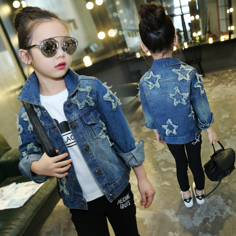Star Patched Teenage Girls Denim Jacket Kids Girls Outerwear Coat 2018 New Spring Fall Casual ...