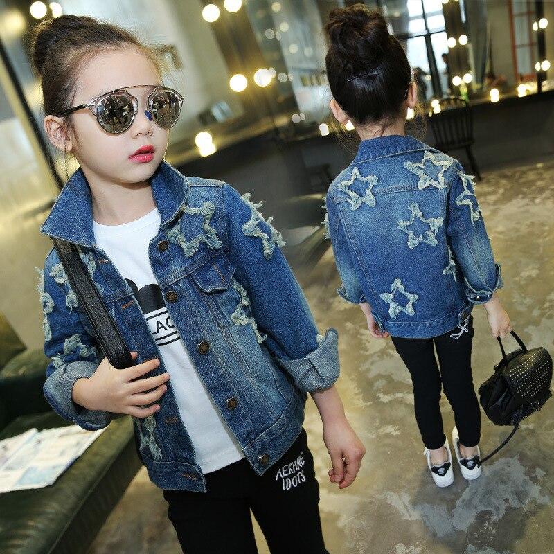 Star patch Teenage Girls Denim Jackets Kids Girls Outerwear Coat 2018 New Spring Fall Fashion Girls Jeans Jacket Children Outfit patch design distressed denim jacket