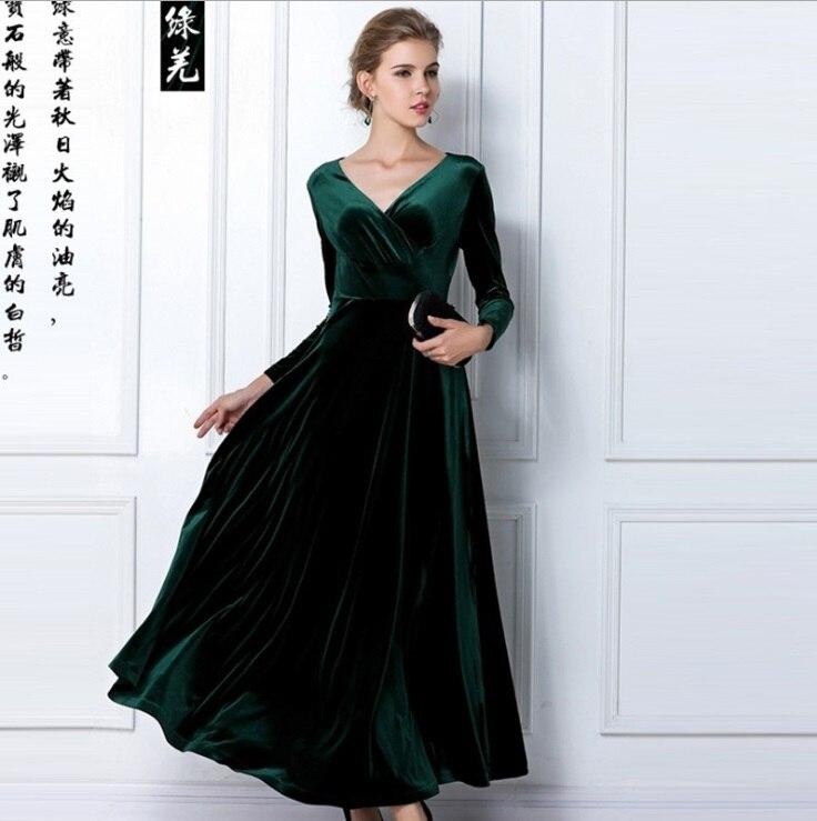 1536ecdfdd4 Plus Size XXXL New Women Winter Dress V Neck Long Maxi Velvet Dresses  Elegant Ladies Formal Party Dresses black red blue-in Dresses from Women s  Clothing on ...