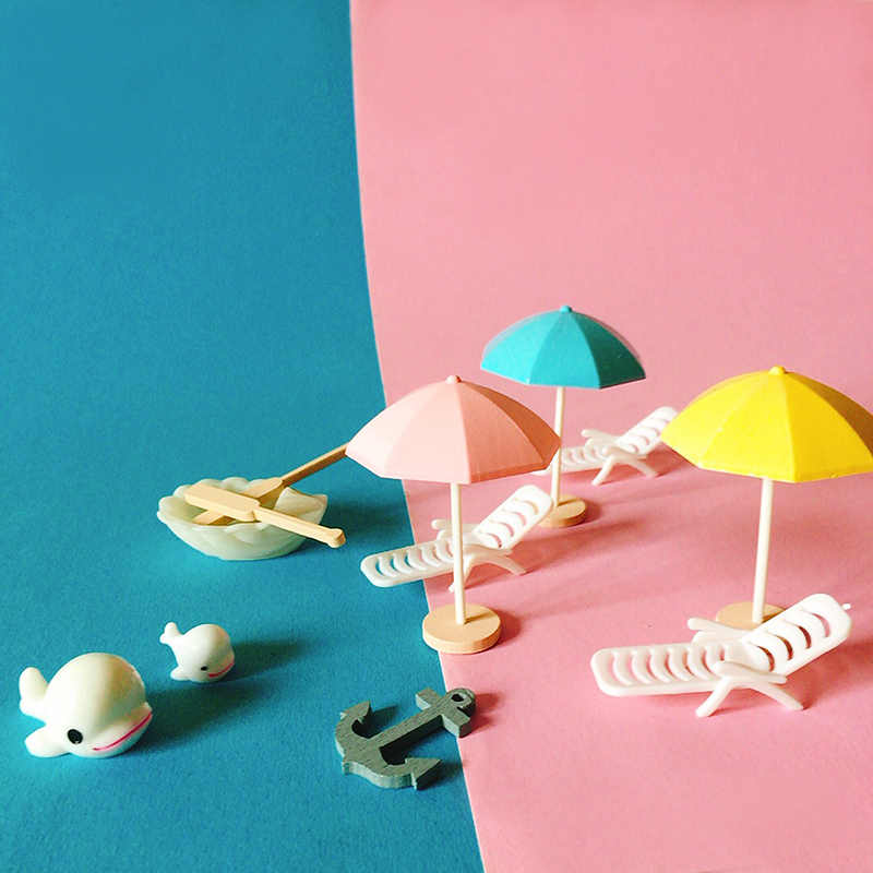 New~beach umbrella/doll house//miniatures/lovely cute/fairy garden gnome/moss terrarium decor/crafts/bonsai/DIY supplies/