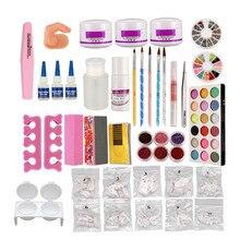 Anmas rucci Full Acrylic Glitter Powder Liquid Block Brush Glue Tips NAIL ART KIT Set 689#  US