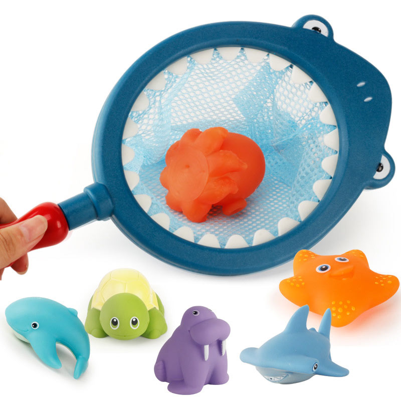 Creative Baby Bath Toys Squeeze-sounding Toys Water Spray Toys Color-changed Toys Funny Shark Fishing Net Set Kids Bath Gift