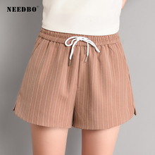 NEEDBO Shorts Women Sexy Office Ladies Summer For Wide Leg Striped High Waist Casual Plus Size 2019