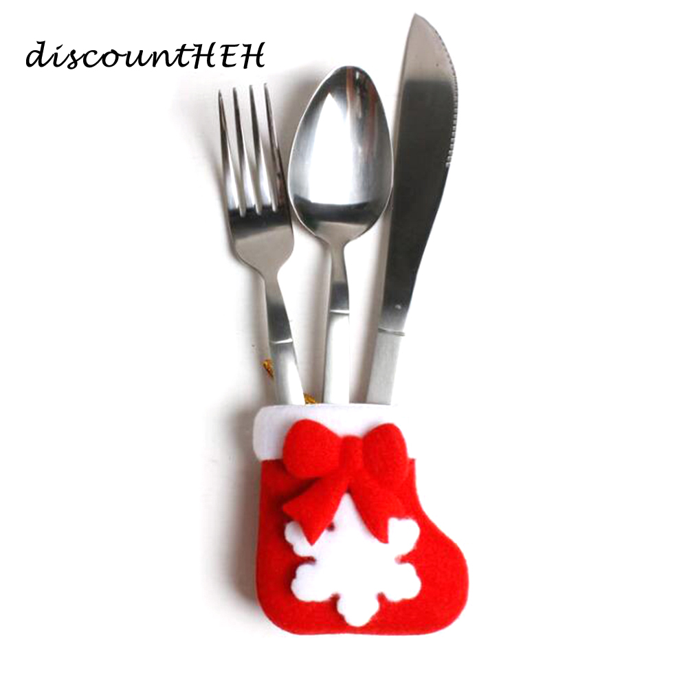 1PCS Christmas Mini Stocking Knife And Fork Cover Bags Festival Party Supplies Dinnerware 7*9cm
