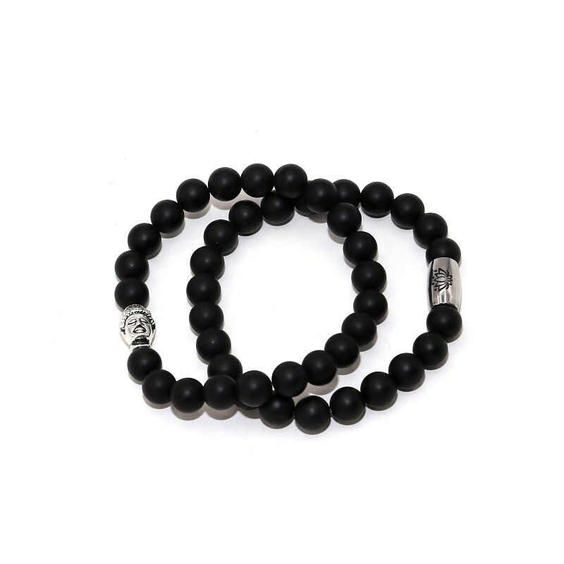 2018 античный посеребренный Будда шармы браслеты для женщин мужчин бисер из обсидиана пятнистый стальной Лотос Шарм Йога браслет ювелирные изделия