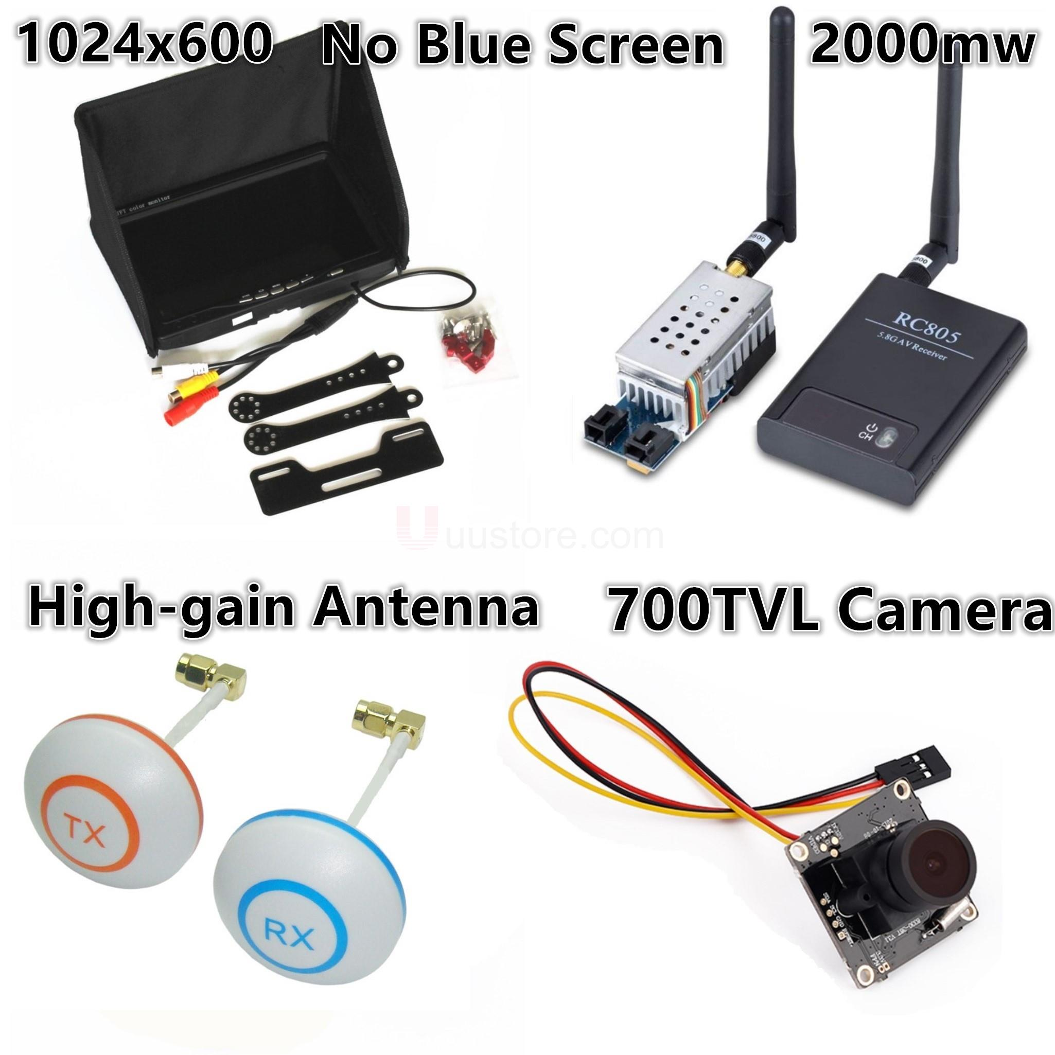 AIO RC FPV Combo System 5.8Ghz 2000mw Transmitter RC805 Receiver 1024x600 Monitor L Antenna 700TVL Camera FPV Quadcopter Drone wireless audio video system 5 8ghz fpv 600mw transmitter 48ch receiver 800x480 monitor 800tvl camera remote control toys