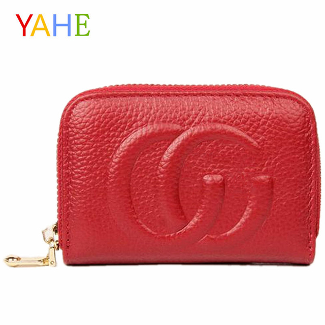 80d69117e6c3 YaHe Genuine Leather Card Holder Women Mini Card Wallets 2018 Brand Designer  Bag ID Credit Card