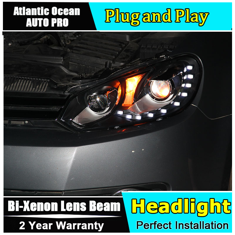 AUTO.PRO For vw golf 6 headlights 2009-2013 bi xenon lens For vw GOLF MK6 head lamps H7 parking LED tear light DRL car styling led headlights for vw volkswagen golf 6 mk6 2010 2014 uu type drl led headlights demon eyes