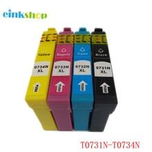 1set T0731 Ink Cartridge for Epson Stylus CX8300 CX3900 CX7300 CX4900 CX5900 TX210 TX105 TX200 Printer T0731 - T0734 Full Ink