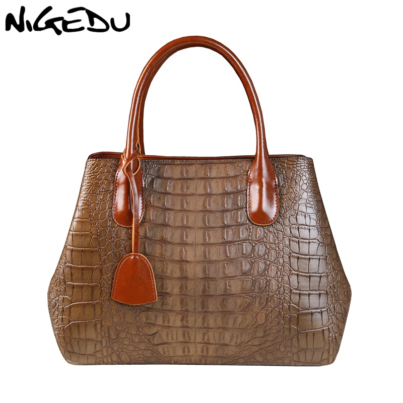 NIGEDU brand design Women handbag Large capacity fashion Crocodile Women's Shoulder bag Mother gifts Totes lady Office bag цена и фото