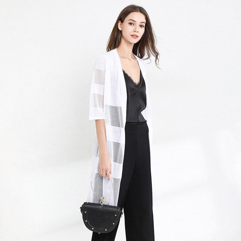 YZ femmes tricot Blouse 2019 été nouveau dames Kimono Cardigan glace soie femelle creux sauvage femmes Long Blouse