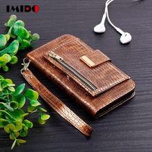 IMIDO Luxury Flip Leather Phone Case For iPhone XS MAX X XR 8 7 6 6S Plus Crocodile Skin Wallet Card Stand Back Cover Coque