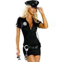 Artı Boyutu 3XL Yetişkinler Polis kadın Cadılar Bayramı Kostümleri Kadın Cosplay Seksi Vinil Deri Yaka Ön Fermuar Polisler Fantezi Elbiseler
