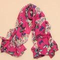 Wholesale Scarf female velvet chiffon silk scarf long design cape butterfly BEACH SCARF