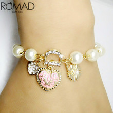 Fair Gold Color Chain Pearl Charm Bracelets & Bangles Fashion Stars Heart Simulated Pearl Beads Wedding Jewelry for Women Gift