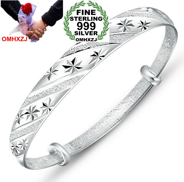 OMHXZJ Wholesale Fashion Frosted Luck Meteor Woman Kpop Star Fine 999 Sterling Silver Adjustable Bracelet Bangles Gift SZ19