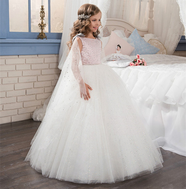 Luxury Shiny Flower Girl Dresses Beading Crystals Ball Gown O-neck Beading First Communion Dresses for Girls Vestidos Longo