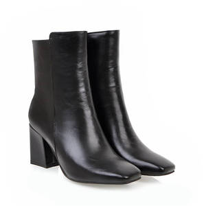 Image 4 - MORAZORA 2020 חדש אופנה קרסול מגפי נשים כיכר טו סתיו חורף מגפי פשוט רוכסן מגפי עקבים גבוהים שמלת נעליים אישה