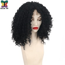 HAIR SW Medium Loose Curly Lace Front Wig With Baby Hair Glueless Synthetic Deep Lace 4 inch Part Heat Resistant Wig Black Women