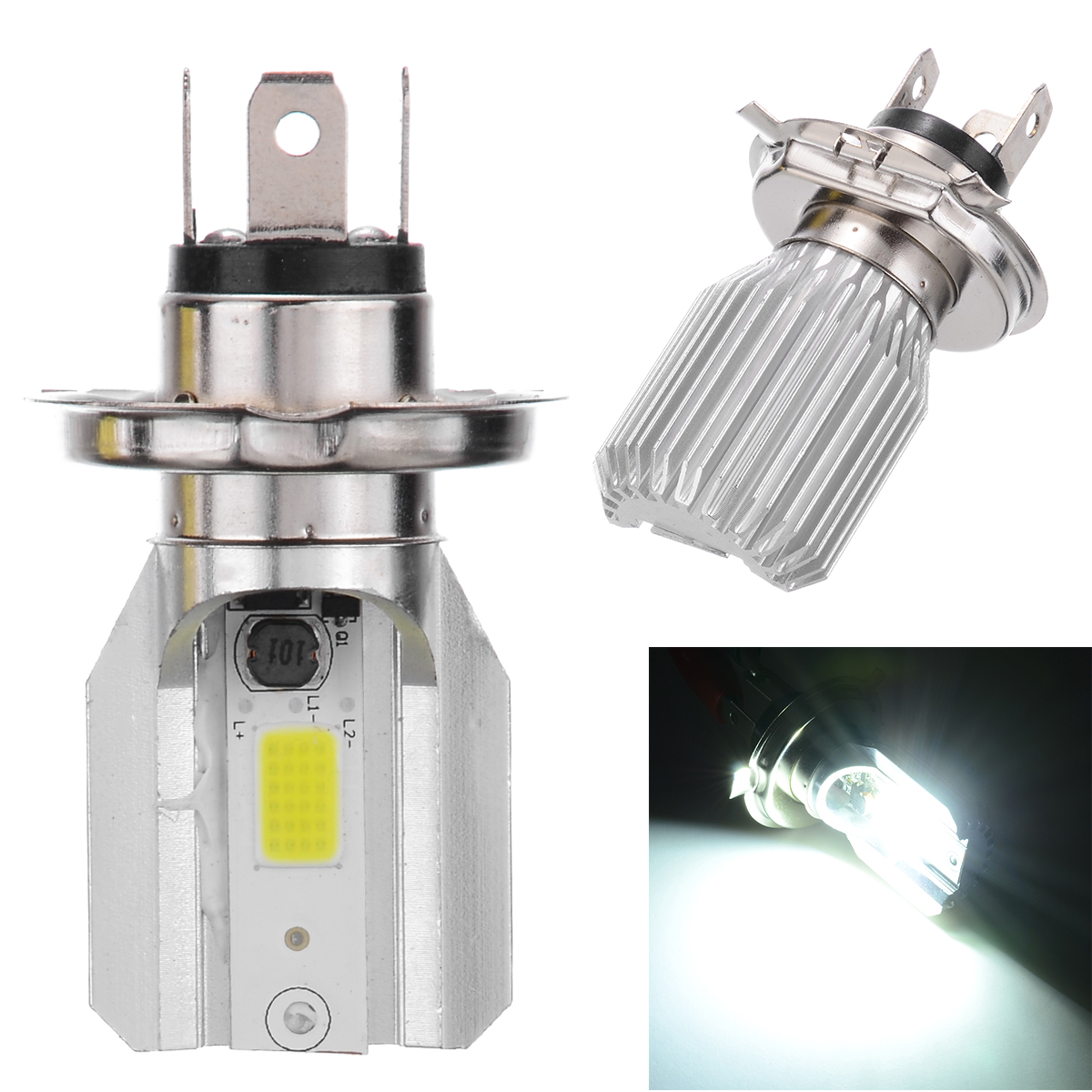 1pc DC12V H4 LED Motorcycle Motorbike Headlight Moto Fog Light Lamp Single sided Bulb 800 2000LM 6000K For Moped Scooter ATV