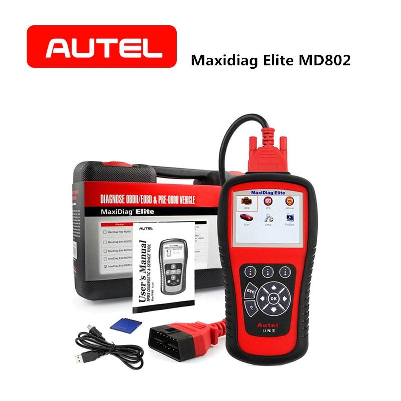 AUTEL MaxiDiag Elite MD802 Automobile Lecteur de Code OBD2 Scanner ABS Airbag Moteur EPB Outil Diagnostique De Voiture accessoires de voiture