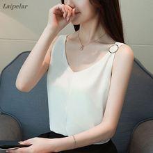 купить 2018 Fashion Women Blouses And Tops Summer Top V-Neck Sleeveless Chiffon Shirt White Blouse Casual Loose Clothing Female Blusas онлайн