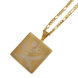 Image 3 - Anniyo Imam Ali Sword Pendant Necklace for Women/Men Muslim Islam Allah Jewelry Gold Color Arab Knife Wholesale #012421