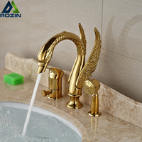 Роскошный золотой Лебедь Форма Ванная комната Ванна смеситель кран 3 шт. Широкое Ванна душа с ручной душ