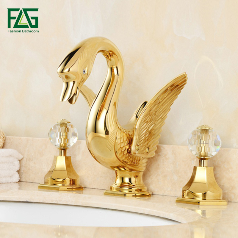 FLG Golden Plated Solid Brass Basin Faucets Animal Swan Faucet Dual Crystal Handles Vanity Bathroom Sink Mixer Tap
