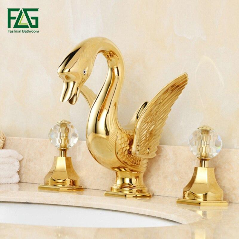 FLG or plaqué en laiton massif bassin robinets Animal cygne robinet double cristal poignées vanité salle de bains évier mélangeur 312