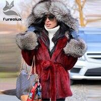 Furealux зимняя норковая шуба с капюшоном из меха лисы и красной норки, меховые куртки с поясом, теплая зимняя верхняя одежда