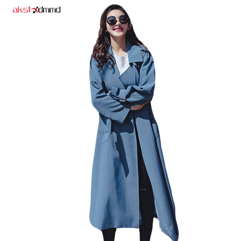 2019 New Women's   Trench   Bandage Loose Cool Windbreaker Long Wild Split Fashion Turndown Casual Coat with Belt Pockets AC001