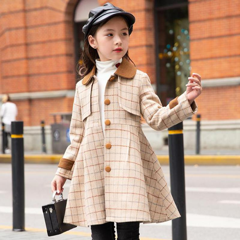 Teen Girls Wool Coat Thick Fashion Long Overcoat Kids Christmas Jacket For Girls Winter Coat Outerwear Children Clothing Costume sherlock holmes men winter long cape coat halloween cosplay costume custom made wool version