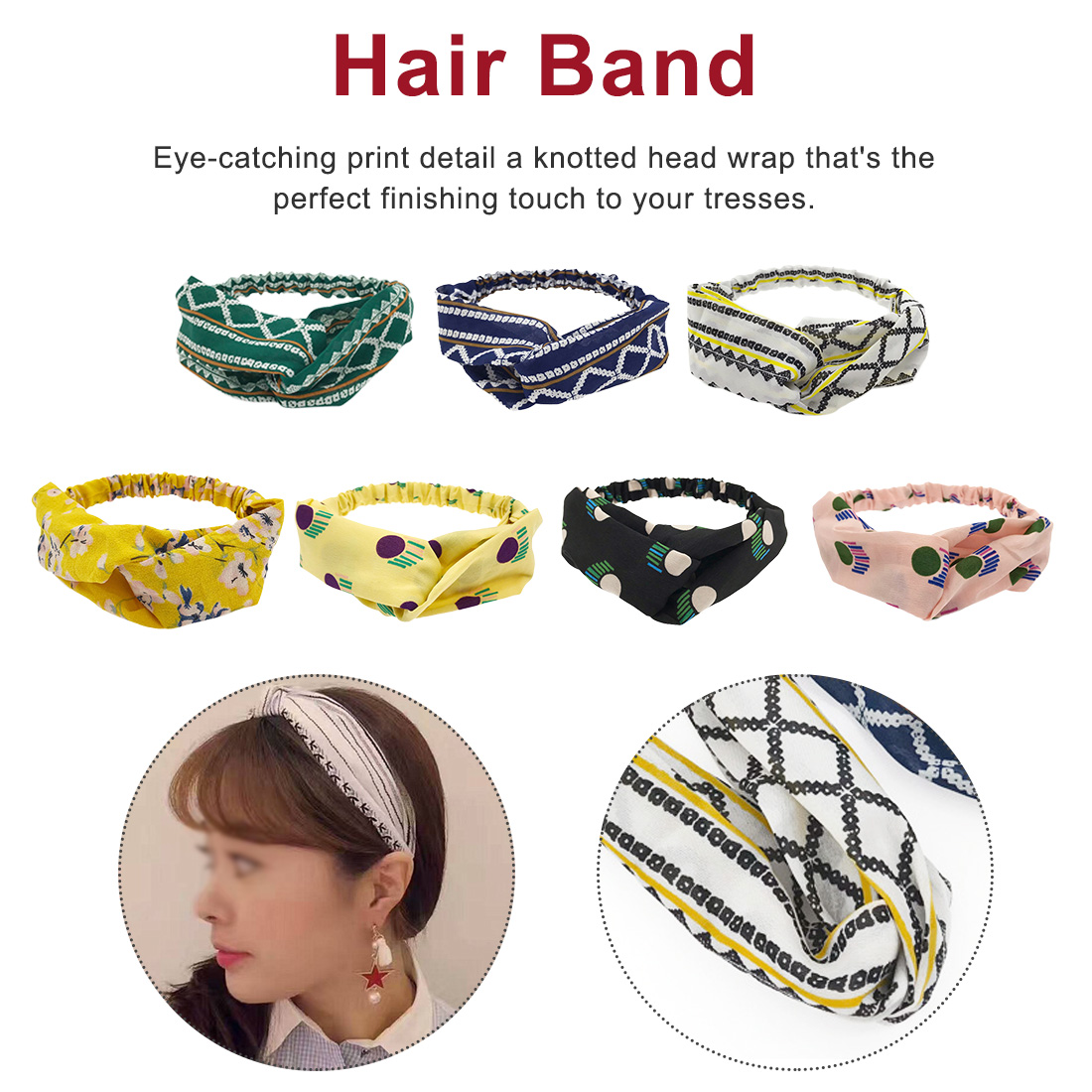 Headbands For Women Print Chiffon Ethnic Style Elastic Hairbands Lady Hair Ornament Holder Bands Accessories