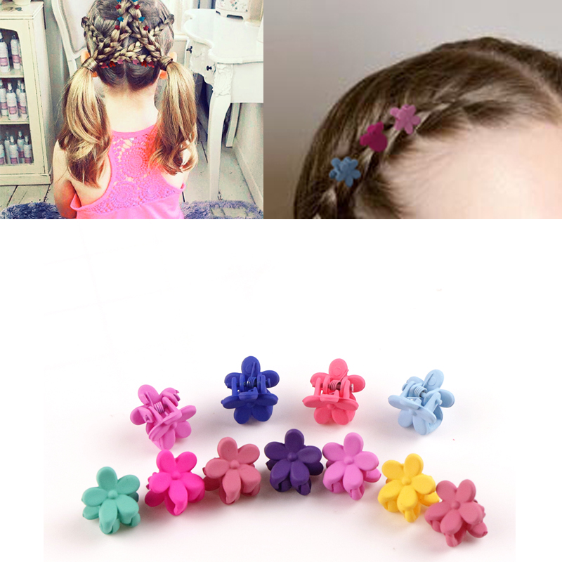 20pcs Wholesale Price Girls Small Hair Claw Cute Candy Color Flower Small Flowers Gripper Headwear Girl Hair Accessories