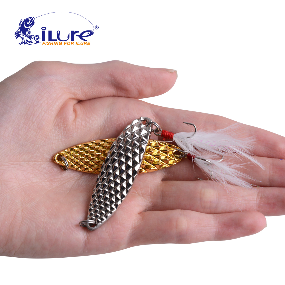ilure 1pcs Metal Spinner Spoon Fishing Lure 7/10/15/20g silvery/Golden Hard Baits Featherb Treble Hook fishing tackle Hard kkwezva 5pcs 6g free shipping spoon fishing lure spoon lure treble hook metal lure for fishing hard bait fly fishing