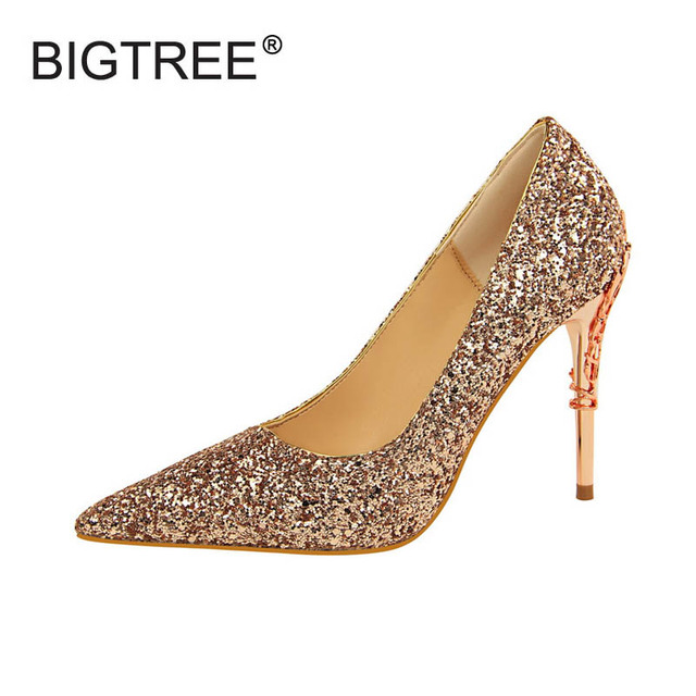 9132803772c8 Luxurious Glitter Women Pointed Toe High Heels Evening Party Shoes Sexy  Shallow Mouth Thin Heels Women Pumps Ladies Stilettos