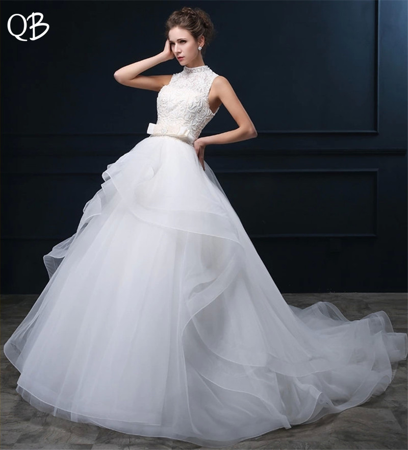 Custom Size Ball Gown High Neck Ruffle Lace Beading Sash Wedding Dresses Long Formal Elegant Wedding Gowns DW54
