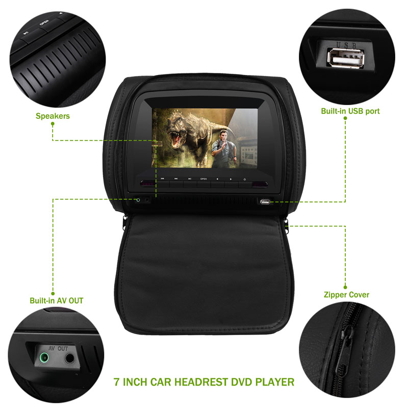 Monitor 7 Inch Wide View TFT LCD Digital Screen Car DVD Player Headrest With IR/FM Transmitter USB SD Speaker Game MP5 Player - 5