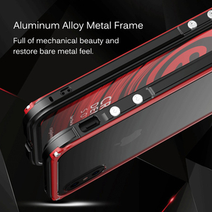 Image 4 - Metal Bumper Case For iPhone X XR XS Max Tempered Glass Back Cover Aluminum Metal Bumper Shockproof Case For iPhone 8 7 6s Plus