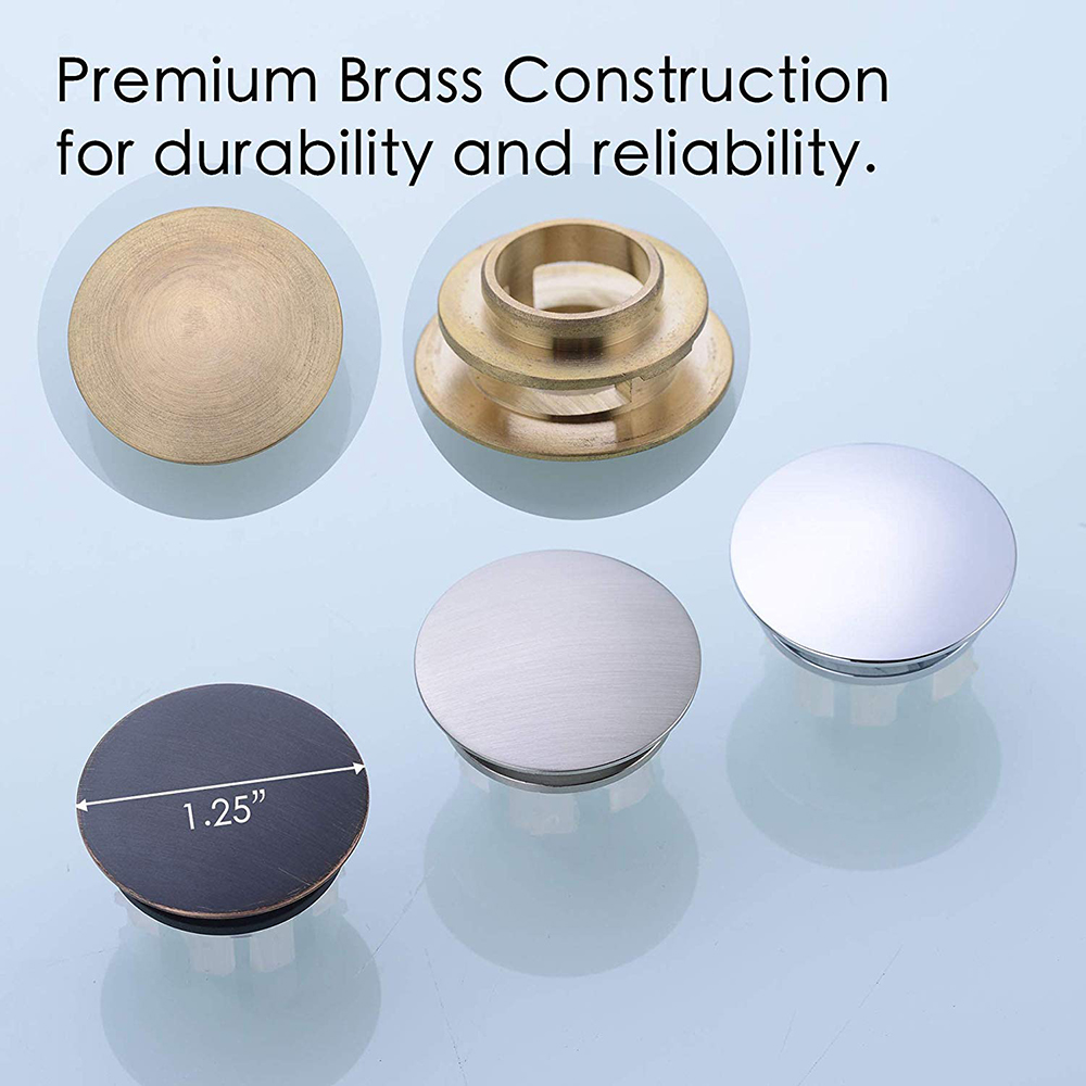Solid Brass Sink Overflow Cap Round Hole Cover for Bathroom Basin Chrome/Brushed Nickle/ORB/Brushed Gold/Matte Black Finished