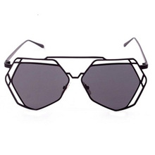 Feitong Geometry Unisex Retro Aluminum Twin-Beams Geometry Design Women Metal Frame Mirror Sunglasses Cat Eye Glasses