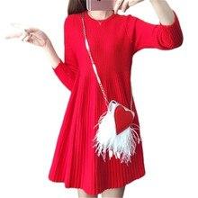 2018 модные Демисезонный женский плюс Размеры Повседневные платья одноцветное Цвет корейский вязаный свитер с круглым вырезом свободные Пуловеры для женщин Для женщин J34