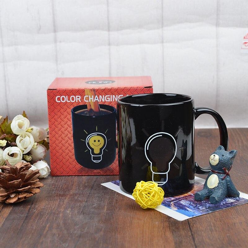 Myroom Creative Straight Thermochromic Bulb Cup Drinking Ceramic Mug