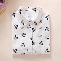 Women Cotton Shirts 2017 Spring New Long Sleeve Cartton Print White Blouses Shirts Womens Tops Blusas