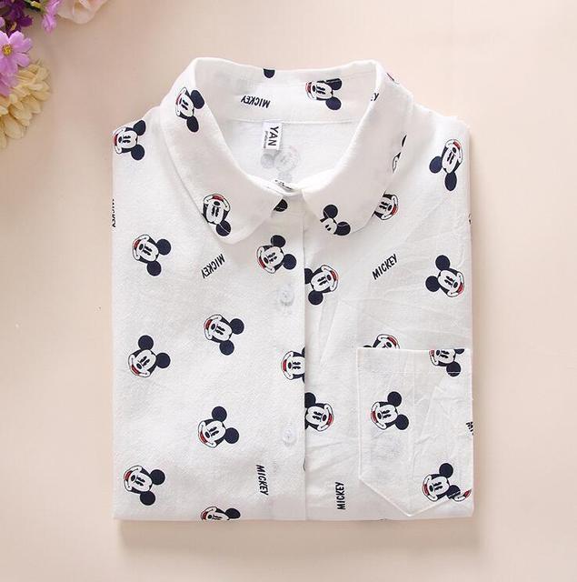 Для женщин хлопковые рубашки 2018 новые весенние с длинным рукавом мультфильм печати Белые блузы Рубашки для мальчиков Для женщин S Топы корректирующие blusas женственная блузка